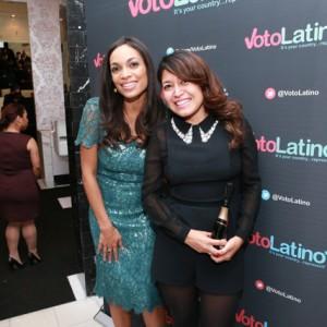Rosario Dawson (Voto Latino Chair) and Patricia Vasconcelos (Moët & Chandon).