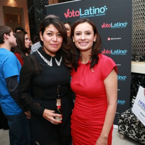 Patricia Vasconcelos (left) and Voto Latino President Maria Teresa Kumar (right).
