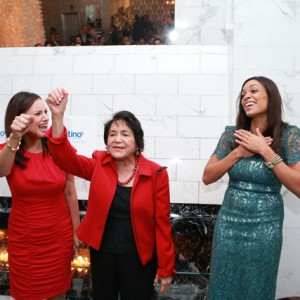 Civil rights activist/labor leader Dolores Huerta, center, addressing the audience, no doubt producing a touching soundbite that got the approval of Voto Latino's Kumar (left) and Dawson (right) the moment this photo was taken.