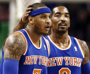 2013 NBA Playoffs: J.R. Smith (r.) and Carmelo Anthony (l.) have New York on the brink of completing a four-game sweep of the Boston Celtics.