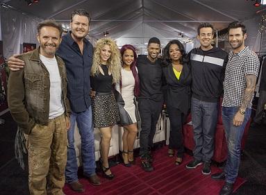 (L-R) Producer Mark Burnett, Blake Shelton, Shakira, Christina Milian, Usher, Oprah, Carson Daly & Adam Levine