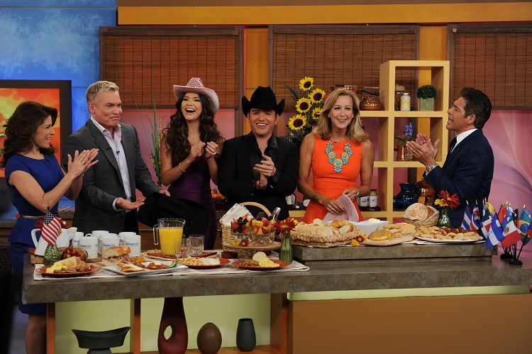 "During an energetic morning, ""Despierta América"" and ""Good Morning America"" came together to celebrate the launch of the Fusion network while the hosts enjoyed cooking typical Latin dishes. Left to Right: Alessandra Rosaldo (invited actress), Sam Champion (co-host of ""Good Morning America,"", Ana Patricia Gonzalez (co-host of ""Despierta América,"") El Dasa (guest singer), Lara Spencer (co-host of ""Good Morning America,"") and Johnny Lozada (co-host of ""Despierta América"" and current contestant of ""Mira Quién Baila."")"
