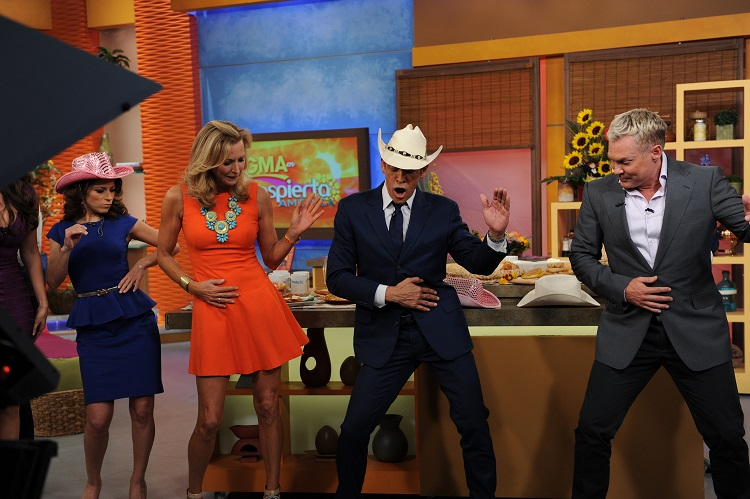 "The celebration continues to the rhythm of Latin music on ""Despierta América"" and Alessandra, Lara, Johnny y Sam showed off their dance skills further proving that we all speak the language of music. Left to Right: Alessandra Rosaldo (guest actress), Lara Spencer (co-host of ""Good Morning America,"") Johnny Lozada, (co-host of ""Despierta América,"") and Sam Champion (co-host of ""Good Morning America."")"