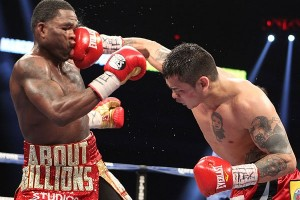 "The ""Solution"" Marcos Maidana (right) to the ""Problem"" Adrien Broner (left)."
