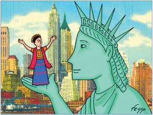 """Girl Talk, still from """"Frida's New York"""" animation"""