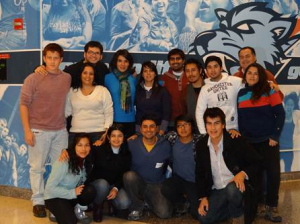 Students from the Universidad Technologica de Chile in Santiago pose inside the                                                                                                     Vertical Campus Building at Baruch College.