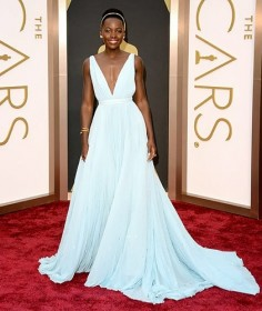 Lupita Nyong'o 'Nairobi' blue prada oscars dress 2014