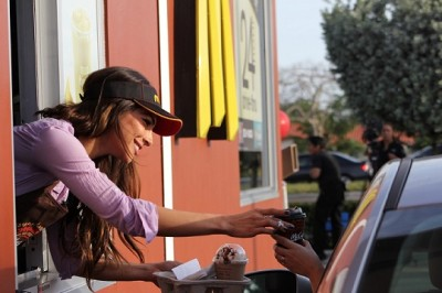 TV personality Alejandra Espinoza surprised costumers with a free McCafé Coffee at a Miami McDonald's on Friday, April 4, 2014 as part of McDonald's first-ever national Free Coffee Event.