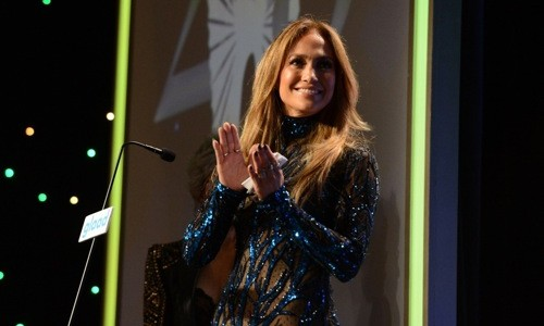 Rita Moreno presents the Vanguard Award to Jennifer Lopez at GLAAD Media Awards in LA