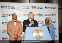 Left to right: Council Member Andy King, Bronx Borough President Ruben Diaz, Jr, Deputy Bronx Borough President  Aurelia Greene