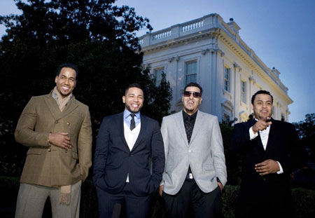 Musicians Aventura attends Hispanic music event at White House in Washington
