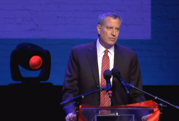 Mayor Bill de Blasio at the World Aids Day event in Harlem's Apollo Theater