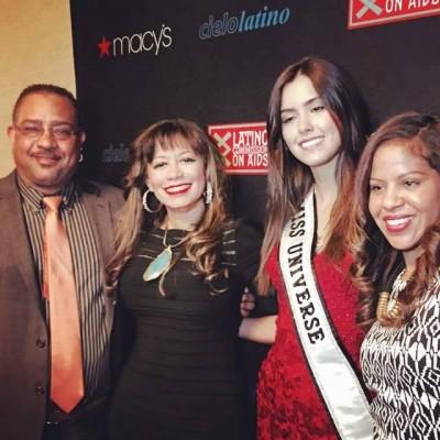 Miss Universe, Pauline Vega and The Latin Trends Publisher, Juan Guillen, Magazine Editor Maria Luna and journalist Deyanira Martinez