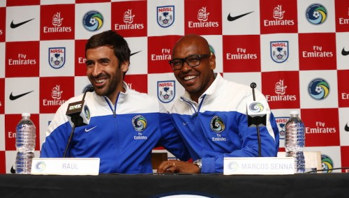 New York Cosmos Farewell Press Conference For Marcos Senna And Raul