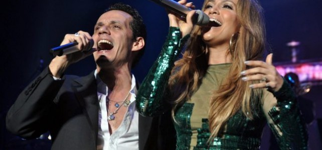Jeniffer Lopez performing together with husband Marc Anthony in concert at the PR Coliseum
